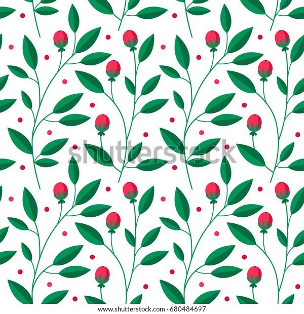 Floral Seamless Pattern Leaves Wallpaper Website Stock