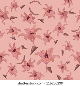 floral seamless pattern with lilac and pink flowers lily