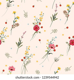 Floral seamless pattern many kind of blooming meadow flowers Botanical . Seamless vector texture. Elegant template for fashion prints. Printing with in hand drawn style on light pink background