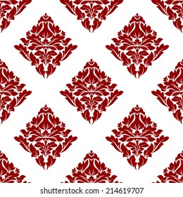 Floral seamless pattern with maroon or crimson or dark red flowers on white in square format, for wallpaper, background and fabric ornament