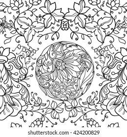 Floral seamless pattern in middle ages style. Outline vector illustration.
