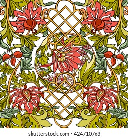 Floral seamless pattern in middle ages style. Colored on white background. Vector illustration.