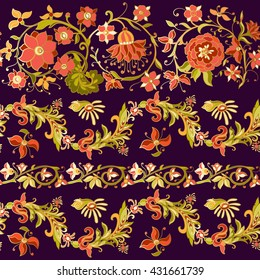 Floral seamless pattern in middle ages style. Colored with gold contour.
