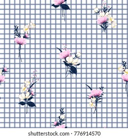 Floral seamless pattern minimal repeat on blue grid background.