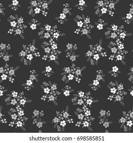 Floral seamless pattern  in monochrome color on a dark background