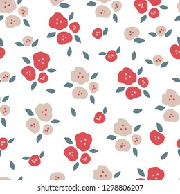 Floral seamless pattern in natural farmhouse style with cute simple branches, flowers, leaves for textiles, fabric, wallpaper, wrapping paper, homeware, home decor, web design
