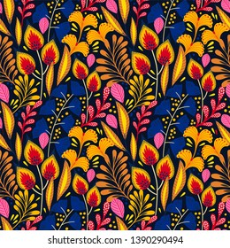 Floral seamless pattern on black. Abstract vector background with flowers and leaves. Natural bright design.