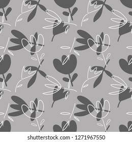 Floral Seamless Pattern on a Gray Background. Vector Template.
