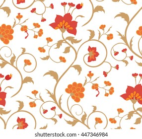 Floral seamless pattern on a white background. Vintage vector ornament.