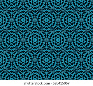 Floral seamless pattern. Optical illusion of the lines. Vector illustration. For the design, printing, invitations, wallpapers. Black on blue