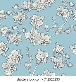 Floral seamless pattern with Orchids. Hand painted illustration.