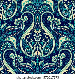 Floral seamless pattern in paisley style. Ornamental Indian backdrop. Design for 3 colors