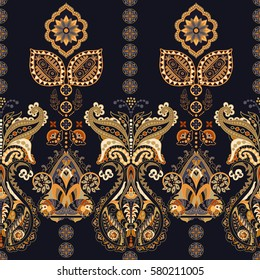 Floral seamless pattern in paisley style. Ornamental Indian backdrop