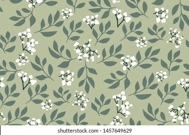 Floral seamless pattern, pastel print. Flowers and leaves in hand drawn style on a light green background. Decorative ornament background for fabric, textile, wrapping paper, card, wallpaper...Vector.