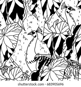 Floral seamless pattern with peacocks and plants