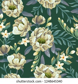 Floral seamless pattern with peonies and sweet peas on teal background