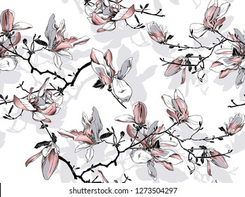 Floral Seamless pattern. Pink Magnolia flowers on a white background. Textile composition, hand drawn style print. Vector illustration.