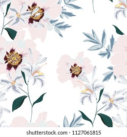 Floral Seamless Pattern with Pink Peony Flowers and lilies. Spring Blooming for Fabric, Prints, Wedding Decoration, Invitation, Wallpapers. Vector illustration. Vintage white background.
