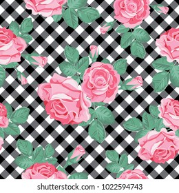 Floral seamless pattern. Pink roses on black and white gingham, chequered background. Vector illustration.