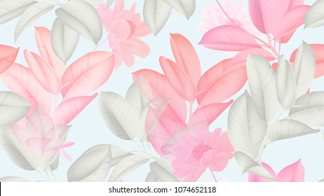 Floral seamless pattern, pink and white Ficus Elastica / rubber plant and pink paenia lactiflora flowers on light blue background