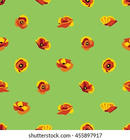 Floral seamless pattern of poppy type flowers on green background