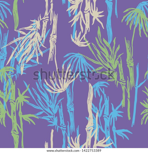 Floral Seamless Pattern Purple Bamboo Trees Stock Vector Royalty