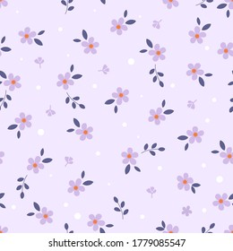 Floral seamless pattern with purple daisy flower and leaves on pastel violet background vector illustration.