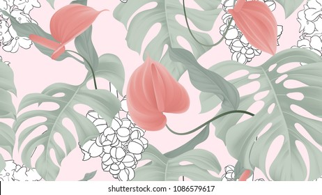 Floral seamless pattern, red Anthurium flowers and split-leaf Ph