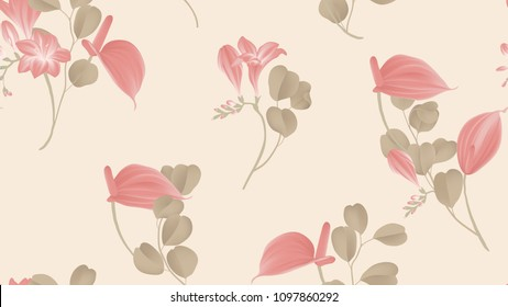 Floral seamless pattern, red Anthurium flowers, red freesia flowers and Silver Dollar Eucalyptus leaves on light red background, pastel vintage theme