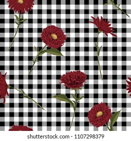 Floral seamless pattern. Red blooming on black and white gingham, checked background. Vector illustration.