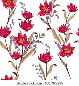 Floral seamless pattern red flowers Botanical  Motifs scattered random. Seamless vector texture. Elegant template for fashion prints. Printing with in hand drawn style on white background.