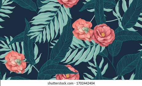Blumennahtlose Muster, rote Semi-Doppelblumen aus Kamelien mit verschiedenen Blättern auf dunkelblauem Hintergrund