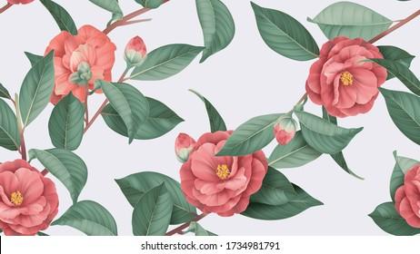 Blütennahtloses Muster, rote Semi-Doppelblumen aus Kamelien mit Blättern aus hellgrau