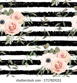Floral seamless pattern with roses, eucalyptus branches and anemone. Vintage print on stripe background. Vector illustration