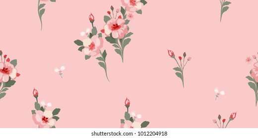 Floral seamless pattern. Roses texture for background fabric, wrapping, wallpaper and paper. Delicate flowery print.