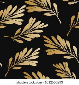 Floral seamless pattern. Royal luxury wallpaper. Vector illustration. Gold leaf background