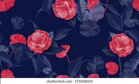 Blumennahtloses Muster, Halbdoppelblüten Kamelien mit verschiedenen Blättern in Rot und Violett auf violett