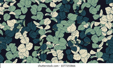 Floral seamless pattern, shade of green Silver Dollar Eucalyptus leaves on black background, line art ink drawing