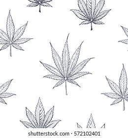 Floral seamless pattern of sketch marijuana & cannabis leaves. isolated vector for design and printing on wallpaper & fabric