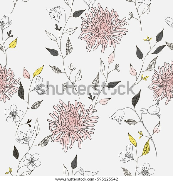 Floral seamless pattern. Sketch style.