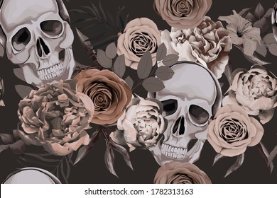 Floral seamless pattern with skull, rose and peony. Flower gothic  print on dark background. Vintage textile. Watercolour style. Vector illustration