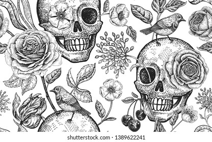Floral seamless pattern. Skulls, blooming rose flowers and birds. Vector illustration with symbols of day dead. Vintage. Black and white. Template of paper, textiles, wallpaper