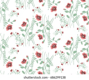 Floral seamless pattern of small flowers poppies