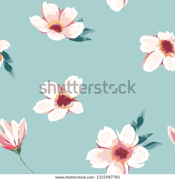 Floral Seamless Pattern Spring Print Sketch Stock Vector Royalty