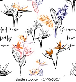 Floral seamless pattern with strelitzia flowers and palm leaves bouquet. Tropical wallpaper collection. Sketch in watercolor style. Hand drawn line on white background.