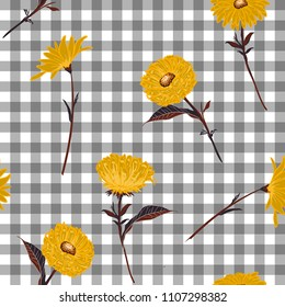 Floral seamless pattern. Stylish yellow blooming on light grey and white gingham, checked background. Vector illustration.