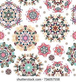 Floral seamless pattern with stylized snowflakes. Delicate pastel snowflake on white background.
