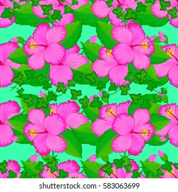 Floral seamless pattern with summer flowers on green background. Endless vector texture for romantic design, decoration, greeting cards, posters, invitations, wrapping, for textile print or fabric.