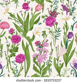 Floral seamless pattern with summer and spring plants. Vector botanical illustration. Pink garden flowers.