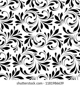 Floral seamless pattern. Swirls and flowers background for wrapping, fabric, paper and wallpaper. Decorative ornament is hand drawing.